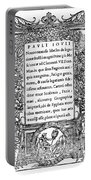 Giovio: Title Page, 1525 Portable Battery Charger
