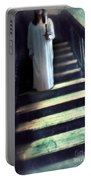 Girl In Nightgown On Steps Portable Battery Charger