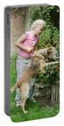 Girl Playing With Dog Portable Battery Charger