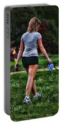 Girl Walking Dog Portable Battery Charger by Paul Ward