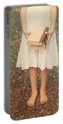 Girl With Old Books Portable Battery Charger