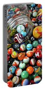 Glass Jar And Marbles Portable Battery Charger by Garry Gay