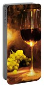 Glass Of Wine And Green Grapes By Candlelight Portable Battery Charger