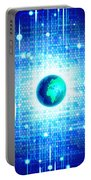 Globe With Technology Background Portable Battery Charger