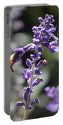 Glowing Bee In Purple Flowers Portable Battery Charger