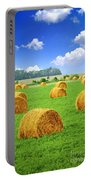 Golden Hay Bales In Green Field Portable Battery Charger