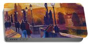 Golden Prague Charles Bridge Sunset Portable Battery Charger