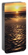 Golden Sunset On The Sand Beach Portable Battery Charger by Setsiri Silapasuwanchai