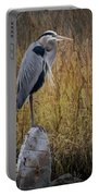Great Blue Heron On Spool Portable Battery Charger by Debra and Dave Vanderlaan