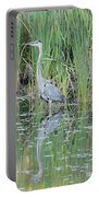 Great Blue Heron With Reflection Portable Battery Charger