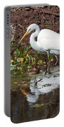 Great Egret Searching For Food In The Marsh Portable Battery Charger