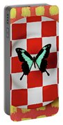 Green And Black Butterfly On Red Checker Plate Portable Battery Charger
