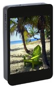 Green Chair On The Beach Portable Battery Charger