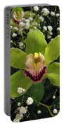 Green Orchid In Baby's Breath Portable Battery Charger