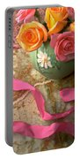 Green Vase With Roses Portable Battery Charger