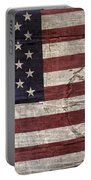 Grungy Textured Usa Peace Sign Flag Portable Battery Charger