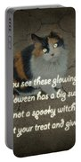 Halloween Calico Cat And Poem Greeting Card Portable Battery Charger