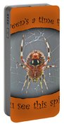 Halloween Greeting Card - Marbled Orb Weaver Spider Portable Battery Charger