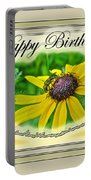 Happy Birthday Card    Black-eyed Susan And Bee Portable Battery Charger