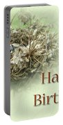 Happy Birthday Greeting Card - Ladybug On Dried Queen Anne's Lace Portable Battery Charger