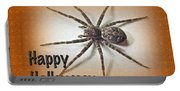 Happy Halloween Spider Greeting Card - Dolomedes Tenebrosus Portable Battery Charger