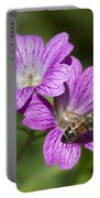 Hardy Geranium And Honey Bee Portable Battery Charger