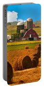 Hay Bales Leading To Barn Portable Battery Charger