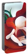 Healing Painting Baby Sitting In A Rose Detail Portable Battery Charger