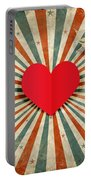 Heart And Cupid With Ray Background Portable Battery Charger
