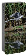 Heron Reflected In The Water Portable Battery Charger