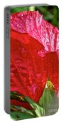 Hibiscus Blossom In Red Portable Battery Charger