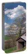 Hillside Weathered Barn Dramatic Spring Sky Portable Battery Charger
