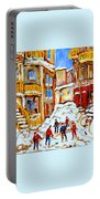 Hockey Art Montreal City Streets Boys Playing Hockey Portable Battery Charger