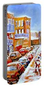 Hockey Art Streets Of Montreal Hockey Paintings Portable Battery Charger