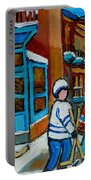 Hockey Game Corner Clark And Fairmount Wilenskys Paintings Portable Battery Charger by Carole Spandau