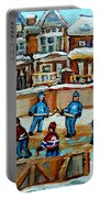 Hockey Rink Montreal Street Scene Portable Battery Charger by Carole Spandau