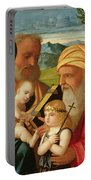 Holy Family With St. Simeon And John The Baptist Portable Battery Charger by Francesco Rizzi da Santacroce