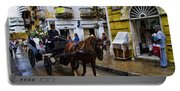 Horse And Buggy In Old Cartagena Colombia Portable Battery Charger