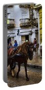 Horse And Buggy In Old Cartagena Colombia Portable Battery Charger by David Smith
