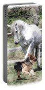 Horse And Dog Play Portable Battery Charger