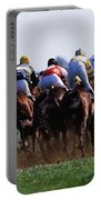 Horse Racing Rear View Of Horses Racing Portable Battery Charger