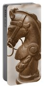 Horse Tether In New Orleans - Sepia Portable Battery Charger