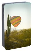 Hot Air Balloon Over The Arizona Desert With Giant Saguaro Cactu Portable Battery Charger