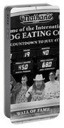 Hotdog Eating Contest Time In Black And White Portable Battery Charger