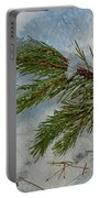 Ice Crystals And Pine Needles Portable Battery Charger
