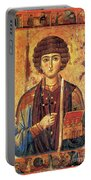 Icon Of Saint Pantaleon Portable Battery Charger by Science Source