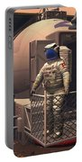 Illustration Of An Astronaut Leaving Portable Battery Charger by Walter Myers