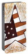 Independence Day Star Usa Flag Coffee Painting Portable Battery Charger by Georgeta  Blanaru