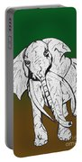 Inked Elephant In Green And Brown Portable Battery Charger