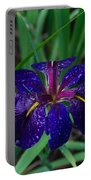 Iris With Rain Drops Portable Battery Charger
